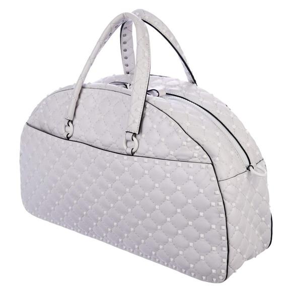 Valentino Handbags - Valentino Rockstud White Leather Bowler Bag